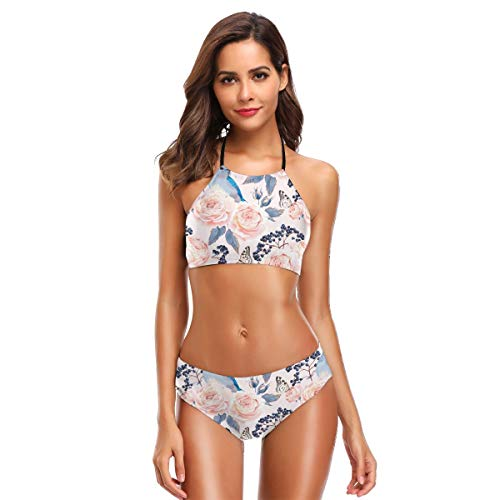 JOJOshop Vintage Rozen Bikini Badpak Womens High Neck Halter Twee Stuk Badpak