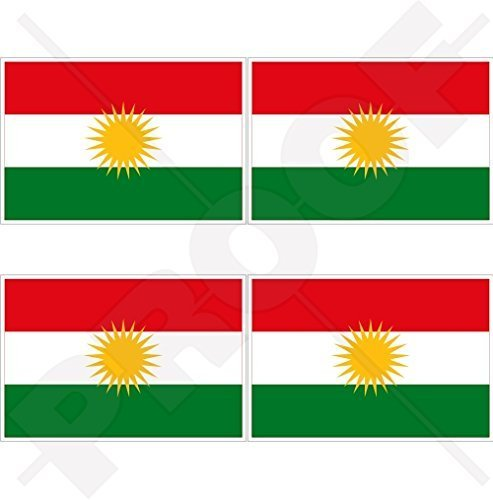KURDISTAN Flagge, Kurd Alaya Rengîn Kurdisch 50mm Auto & Motorrad Aufkleber, x4 Vinyl Stickers