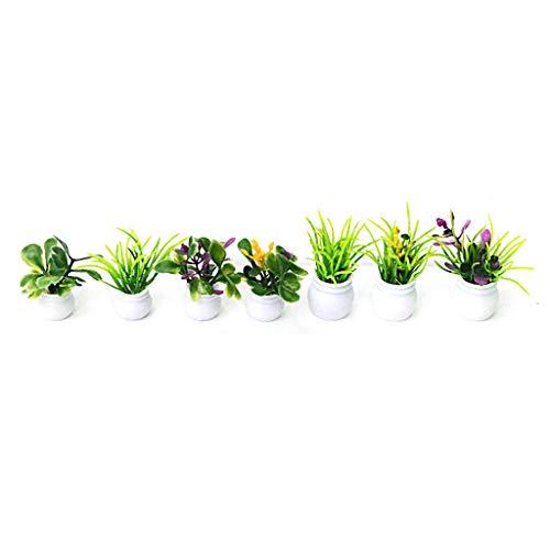 TCM-KE Set mit 7 Miniatur-Töpfen für Puppenhaus-Blumen, Landschaft, DIY, Sandtisch, Pflanzenmodell, aus ABS mit Schwamm mit raffinierter Handarbeit.