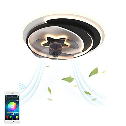 Ventilador de Techo con Luz LED Regulable Ultra Silencioso De La Sala Dormitorio De La Lámpara Del Ventilador Control de APP Velocidad Del Viento Ajustable Temporizador Negro 50Cm VOMIA