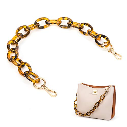 Xiazw Short Thick Transparent Acrylic Purse Bag Handle Shoulder Strap Replacement,Handbag Decoration Chain,Bag Accessories Charms (Brown with Gold Buckle)