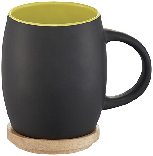 noTrash2003 - Taza de café con tapa de madera Colores (Negro/Lime)