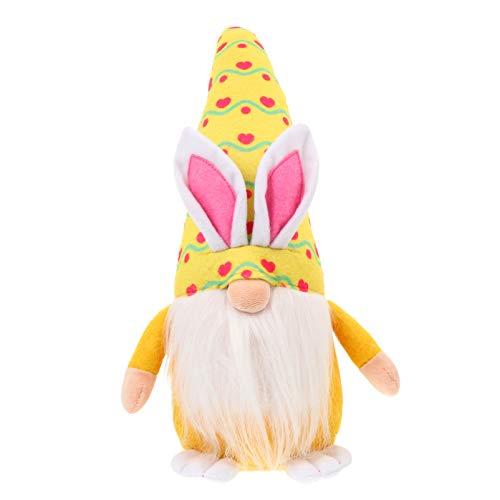 Amosfun Osternhase Zwerge Kaninchen Gnom Plüsch Hasen Puppen Wichtel Figur Plüschfigur Schwedisch Tomte Langer Bart mit Karrot in Osterei Kleidung Nisse Elf Sammlerfigur Ostern Spielzeug