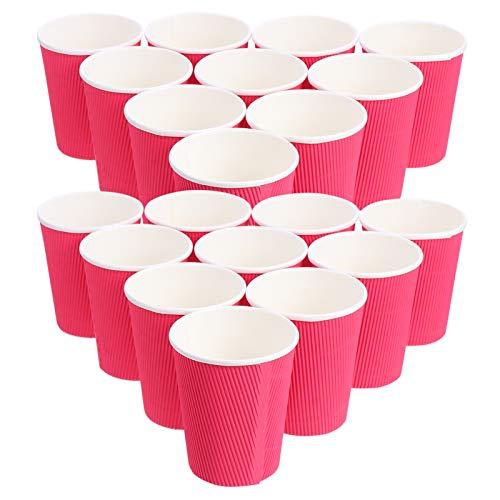 Amosfun 20 vasos de papel rojo ondulado aislados para café, té, tazas calientes, tazas de papel reciclables para un mejor aislamiento para capuchino, cacao caliente o bebidas heladas, estilo 3