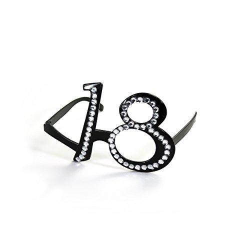 Oblique-Unique® Gafas de 18 cumpleaños negras con cristales transparentes
