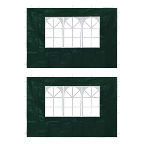 Festnight 2 pz Parete Laterale per Tenda Gazebo/Tendone Gazebo con Finestra Bianco/Verde 295 x 195 cm