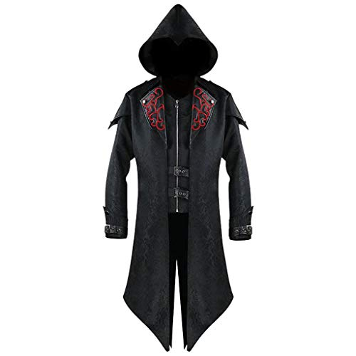 Xisimei Chaqueta de hombre Assassins Creed, disfraz vintage medieval, gótico, chaqueta de piel con capucha, disfraz para festivales, carnaval, cosplay, fiestas de Colonia, Negro , XL