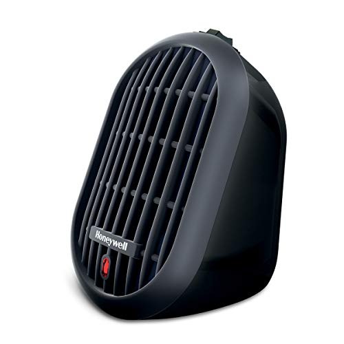 Honeywell HCE100B Heat Bud Ceramic Heater Black Energy Efficient Space Saving Portable Personal Heater With 2 Heat Settings for Home, School, Office