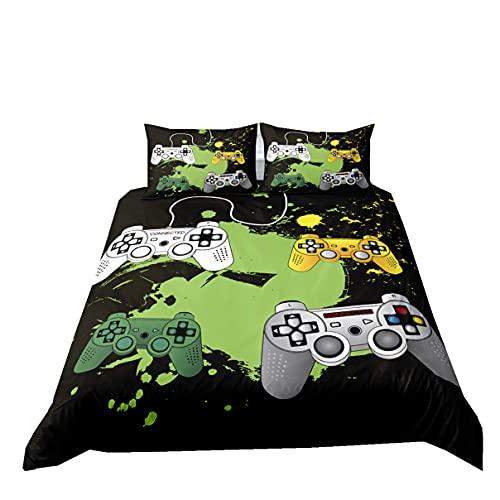Ropa de Cama con Impresión 3D Consola de Juegos Graffiti Negro Verde Morado Niño Adolescente Adulto Creativo Gamepad Gamer Handle Microfibra Cremallera Funda Nórdica (Color 4, 180x210cm Cama 90 cm)