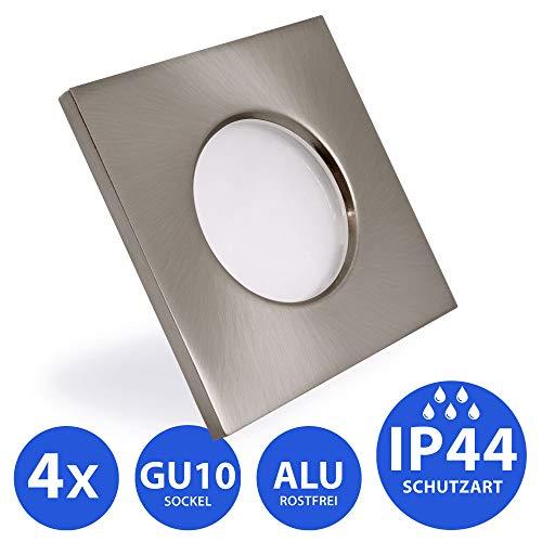 4x Bad Einbaustrahler IP44 Einbaustrahler Feuchtraum Badezimmer Bad Dusche Sauna inkl. GU10 Fassung Rostfrei Einbauspot Deckeneinbaustrahler eckig Edelstahloptik