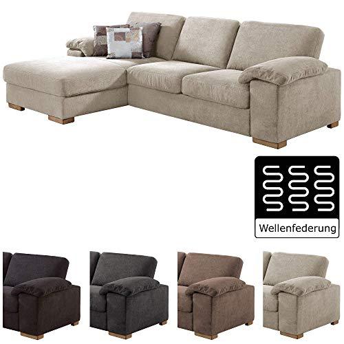 CAVADORE Ventere Ecksofa mit Longchair links / L-Sofa im modernen Design / 277 x 86 x 172 / Beige