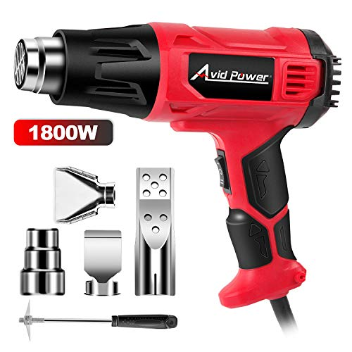 Heat Gun, Heavy Duty Hot Air Gun 1800W with Dual Temperature Settings (716℉/1205℉), 4-pc Nozzle Attachments for Crafts, Shrinking PVC, Stripping Paint, Avid Power