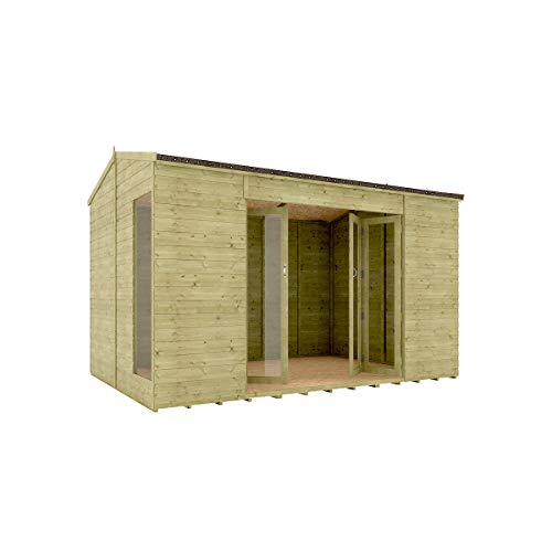 12 x 8 Pressure Treated Cannes Summerhouse Tongue & Groove Shiplap Cladding Construction Wide Double French Door 3.65m x 2.43m