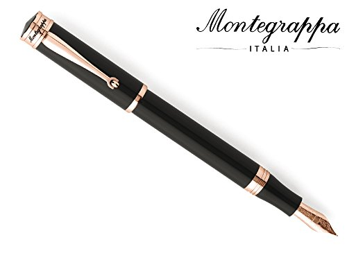 Montegrappa Ducale pluma estilográfica, negro resina, oro rosa, borde...