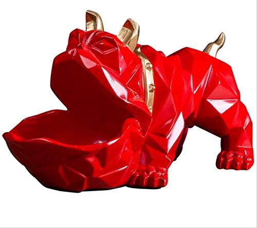 Lucky Dog Escultura geométrica de Animales Adornos Decoraciones Mesa de Centro Plato de Dulces Puerta Zapato Artículos de Almacenamiento de Llaves Adornos (1 Paquete)