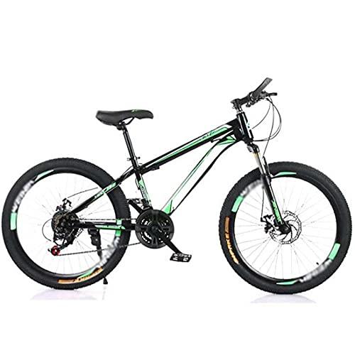 HUAQINEI Bicycle mountain bike high carbon steel 21-speed dual disc brake shock absorption 26 inch mountain bike adult variable speed,Green,24 inch 21 speed