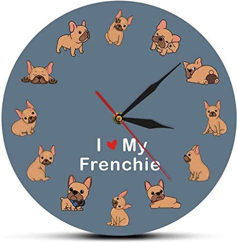 Relojes De Pared Impreso Raza De Perro Bulldog Francés Reloj De Pared Silencioso Decorativo Tienda De Mascotas Señal De Arte De Pared 12 Pulgadas Reloj De Decoración De Pared Para El Hogar