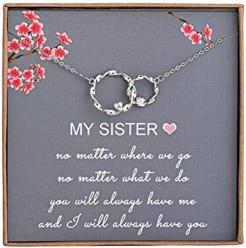Sister Gifts from Sister Sterling Silver Interlocking Infinity 2 Circles Necklace for Sisters product image