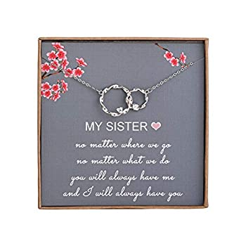 Sister Gifts from Sister - Sterling Silver Interlocking Infinity 2 Circles Necklace for Sisters Birthday Jewelry Friendship Gifts