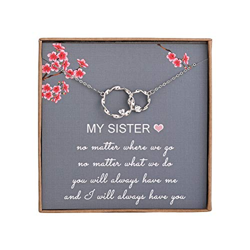 Sister Gifts from Sister - Sterling Silver Interlocking Infinity 2 Circles Necklace for Sisters, Birthday Jewelry Friendship Gifts