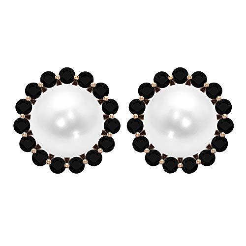 Solitaire 6.45 ct perla de agua dulce pendientes de halo de ónix negro, pendientes de tuerca antiguas para boda nupcial, pendientes cómodos con rosca trasera blanco