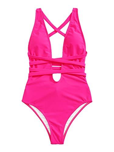SweatyRocks Women's Sexy Criss Cross Tie Knot Front Deep V Open Back Neon Pink One Piece Swimwear Z#Hot Pink L