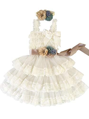 Rosy Kids Girl's Vintage Chic Flower Girl Lace Dress Flower Sash Hair Flower, Ivory Dress Champagne Sash Pastel Blue Cream Flower, L