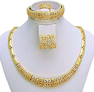 18k Real Gold Plated Italian Design JEWELRY SET with Chunky Necklace, Earrings, Bracelet & Ring