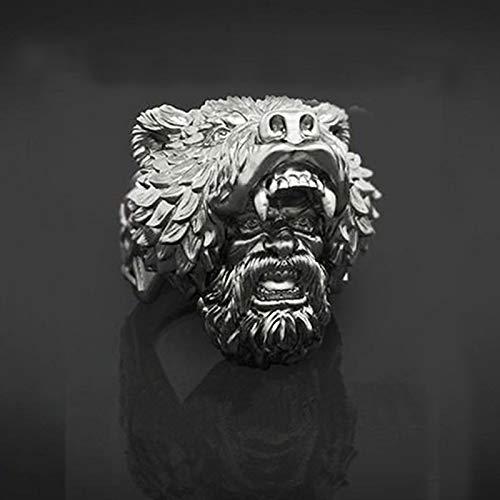 Feeyond Classic Men Black Silver Color Unique Viking Bear Head Ring Biker Rings Vintage Punk Men's Ring Fashion Jewelry,11