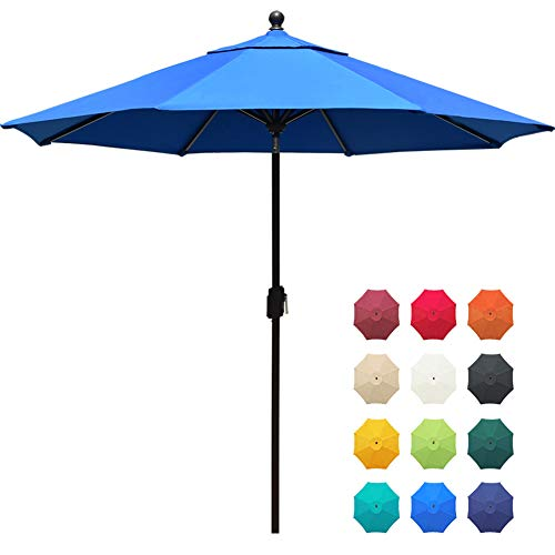 EliteShade Sunbrella 9Ft Market Umbrella Patio Outdoor Table Umbrella with Ventilation and 5 Years Non-Fading Top,Blue