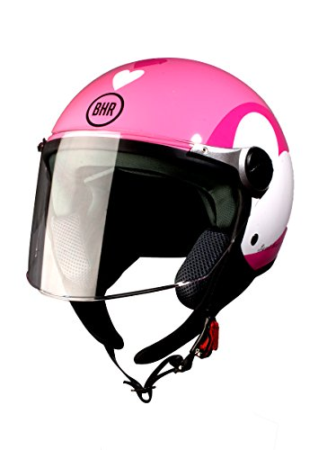 BHR 93776 Demi-Jet Love 710 Casco de Moto, Color Rosa, Talla 53/54 (XS)