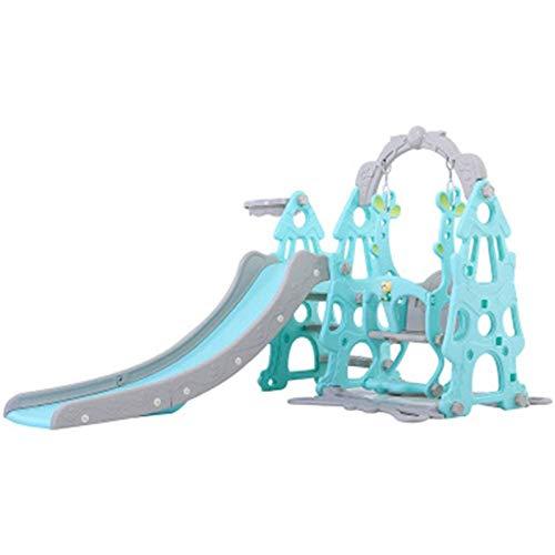 Muyuuu Juego de Columpio y tobogán para niños 3 en 1: Escalador para niños con aro de Baloncesto, Marco de Escalada Plegable para niños para el hogar/jardín (Color : Blue)