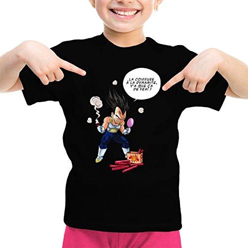 Okiwoki T-Shirt Enfant Fille Noir Parodie Dragon Ball Z - DBZ - Végéta - Astuce pour Se coiffer Le Matin ! (T-Shirt Enfant de qualité Premium de Taille 13-14 Ans - imprimé en France)
