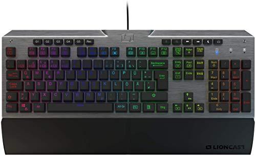 Lioncast LK300 PRO RGB Mechanische Gaming Tastatur (Cherry MX™ Brown, 16.8 Millionen Farben, Software zur Programmierung, LED, USB, QWERTZ, Magnetische Handballenablage) im Steel-Look