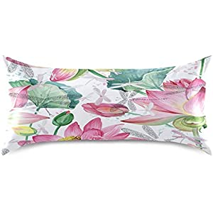RUDANY Pink Lotus Flowers Satin Pillowcase for Hair and Skin Silk Pillowcase – Slip Cooling Satin Pillow Covers with Envelope Closure, King Size(20×40 inches)