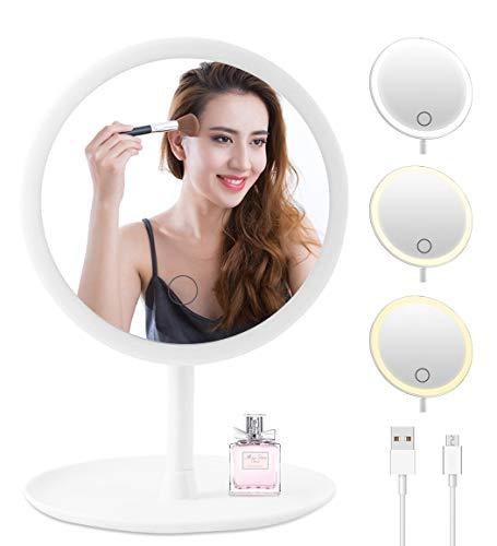 Espejo Maquillaje con Luz LED, Espejo cosmético de Mesa Iluminado, 3 Niveles de luz, Giratorio de 90 Grados, Espejo de Maquillaje...