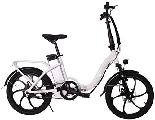 RDJM Bici electrica, 20 Bicicletas inche eléctricos, Bicicletas Plegables 250W Motor extraíble batería de Litio Ciudad Bici Adulta de Ciclo al Aire Libre (Color : White)
