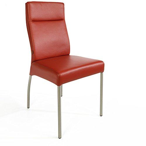 Lederstuhl Stuhl Gatto Rindsleder   Besucherstuhl Leder Stuhl Stühle Rot