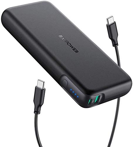 Portable Charger RAVPower 20000mAh 60W PD Power Bank 2-Port USB C QC Charging Power Delivery Compatible with MacBook Pro iPhone...