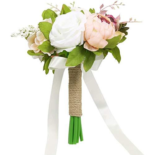 Lopbinte Ramo de novia de boda de peonía artificial y rosa de seda de flores de boda para dama de honor de novia, ramo de lanzamiento
