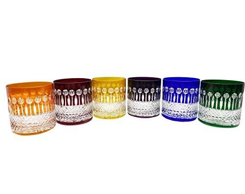 6 Bicchieri di Whisky e Acqua in Cristallo - Assortimenti di 6 Colori - Service Roemer Diamant (28 cl) - Maison Klein Artisan du Cristal - Set Regalo - Firmata : Klein 54120 Baccarat France