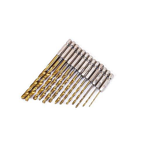 SSyang 13 Piezas Titanio Recubierto HSS Brocas de Metal de Alta Velocidad...