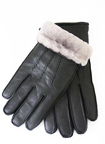 Exklusive Lederhandschuhe aus Lammnappa gefüttert mit 100% Merino Lammfell, schwarz, Herren Handschuhe