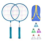 BESPORTBLE Badminton Set pour Enfants avec Raquettes Junior Tennis Raquette Play Game Beach Toys (Bleu)