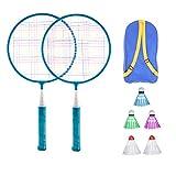 BESPORTBLE Badminton Set for Kids with Rackets Junior Tennis Racquet Play Game Beach Toys (Blue)