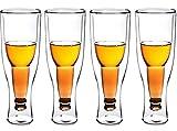 J&X Glasses de Cerveza de cristalería de 4 unids, Tazas de diseño Premium con Vidrio de Cerveza con Paredes Doble Aislante, Regalo al revés invertido para Bodas, Fiestas