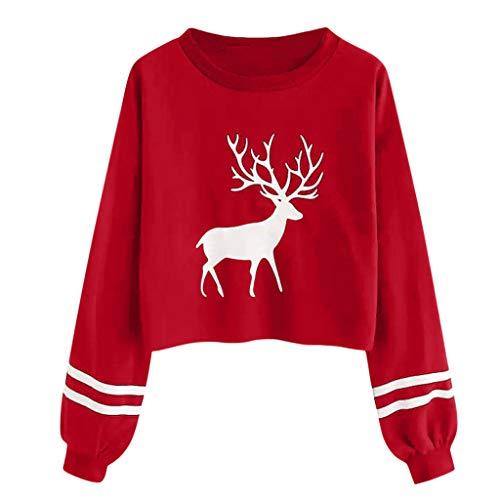 ReooLy Mode Frauen Casual Weihnachten Druck O-Ansatz Kurze langärmeligen Pullover Shirt Frauen-Shirt(Rot/X-Large)