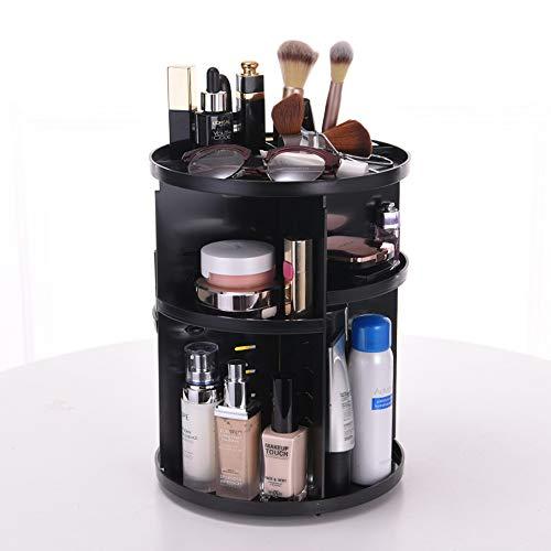 Triplsun Organisateur de maquillage rotatif, stockage de maquillage réglable 360 de bricolage, grande capacité de maquillage boîte de rangement pour étagère Caddy Shelf Cosmetics