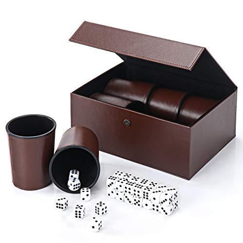 X SIM FITNESSX Partyspiele PU Leder Würfelbecher Set, 6 Würfel mit Becher + 30 Punktwürfeln + Exklusives Aufbewahrungs und Transportetui aus Kunstleder mit Magnetverschluss