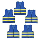 Mesh Safety Vest Reflective Work Vest Industrial High Visibility Vest Lightweight Traffic Vest Construction Comfortable Vest Emergency Bright Vest Neon Blue 5PCS